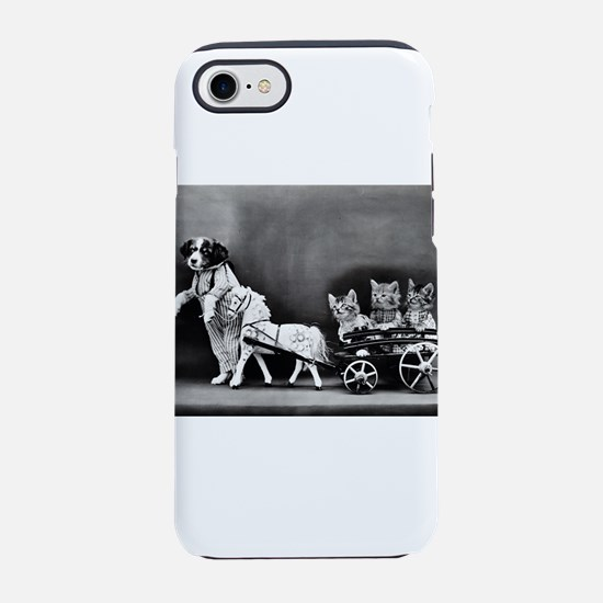 Dog Pulling Kittens In A Littl iPhone 7 Tough Case