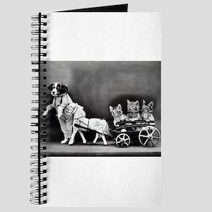 Dog Pulling Kittens In A Little Wagon Journal