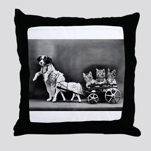 Dog Pulling Kittens In A Little Wagon Throw Pillow