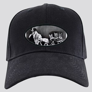 Dog Pulling Kittens In A Litt Black Cap with Patch