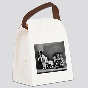 Dog Pulling Kittens In A Little W Canvas Lunch Bag