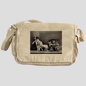 Dog Pulling Kittens In A Little Wago Messenger Bag