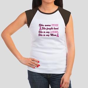 She is my Angel Mom Pink Women's Cap Sleeve T-Shir
