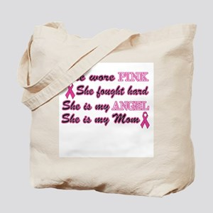 She is my Angel Mom Pink Tote Bag