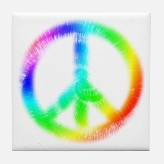 Tie Dye Peace Sign Tile Coaster