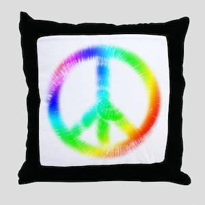 Tie Dye Peace Sign Throw Pillow