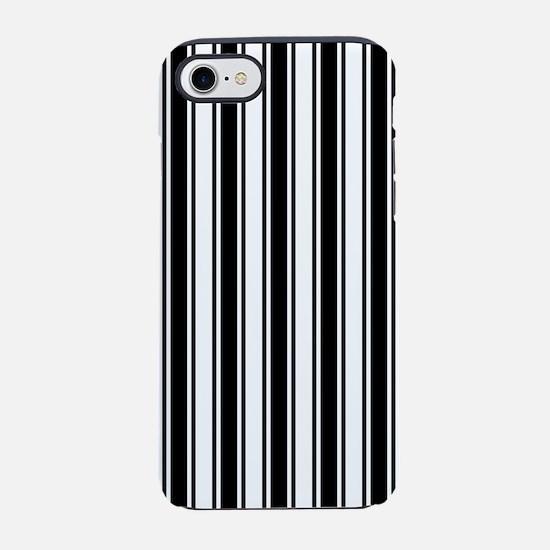 Black White Ticking Stripe iPhone 7 Tough Case