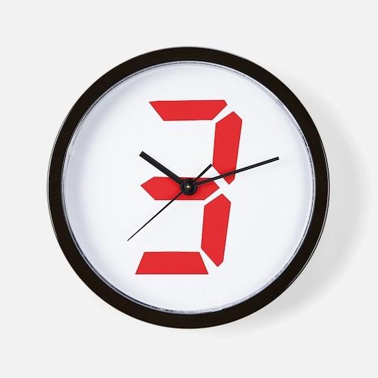 3 three red alarm clock numbe Wall Clock