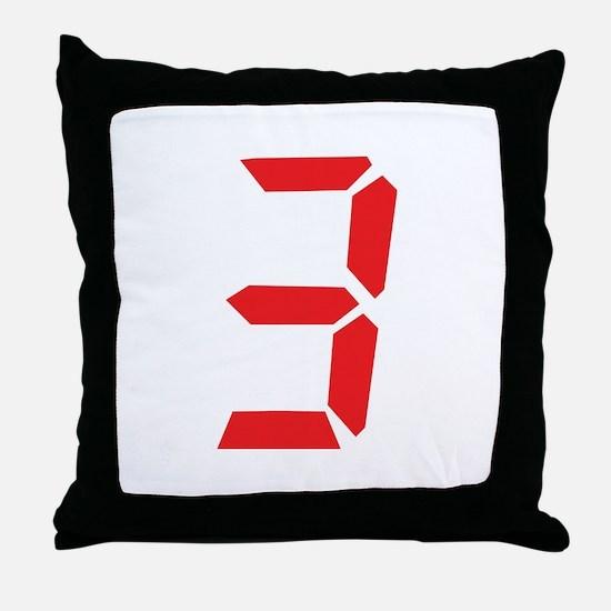 3 three red alarm clock numbe Throw Pillow