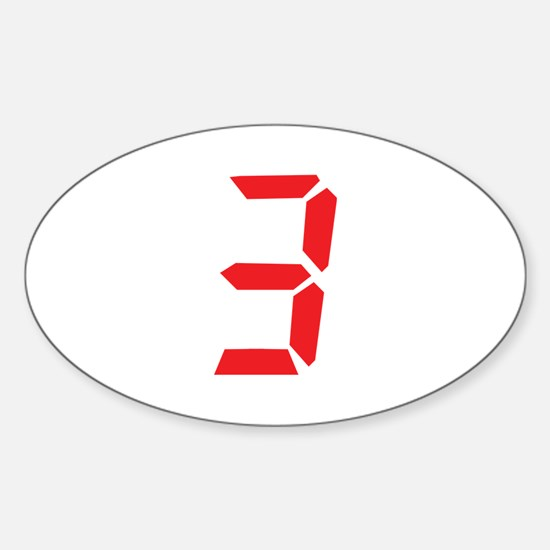 3 three red alarm clock numbe Oval Decal