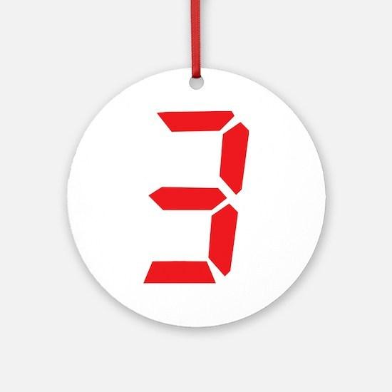 3 three red alarm clock numbe Ornament (Round)