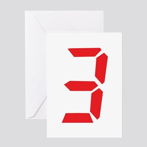 3 three red alarm clock numbe Greeting Card