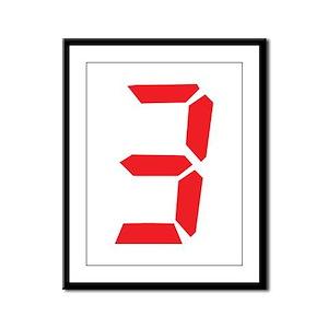 3 three red alarm clock numbe Framed Panel Print