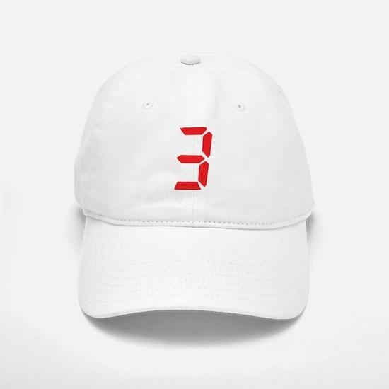3 three red alarm clock numbe Baseball Baseball Cap