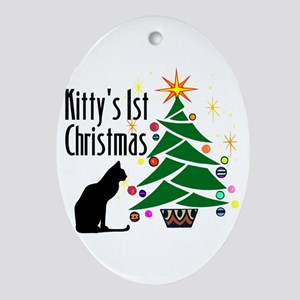 Kitty's 1st Christmas Oval Ornament
