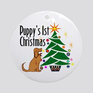 """Puppy's 1st Christmas"" Ornament (Round)"