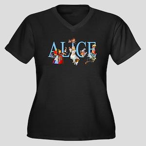 ALICE & FRIENDS Women's Plus Size V-Neck Dark T-Sh