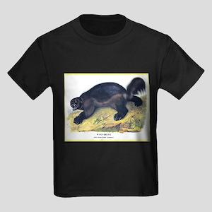 Audubon Wolverine Animal (Front) Kids Dark T-Shirt