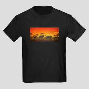 Elephants at Sunset Kids Dark T-Shirt
