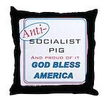 Anti-socialist Pig Throw Pillow
