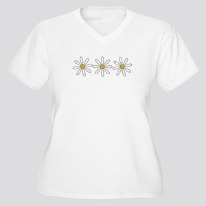 Daisies Women's Plus Size V-Neck T-Shirt