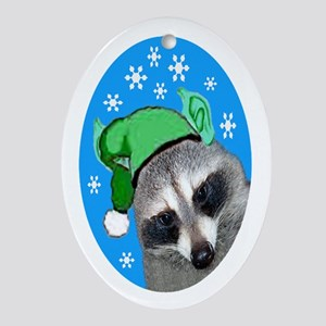 Christmas Raccoon Oval Ornament