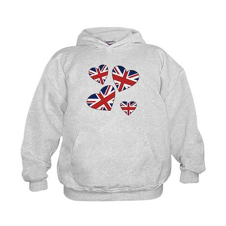 Four British Hearts Kids Hoodie