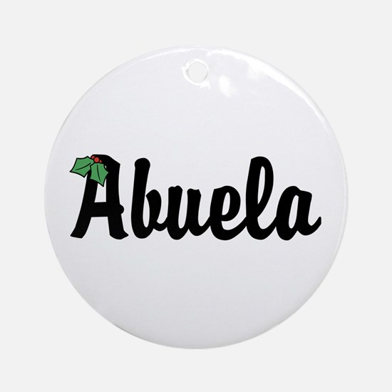 Abuela Holiday Holly Ornament (Round)