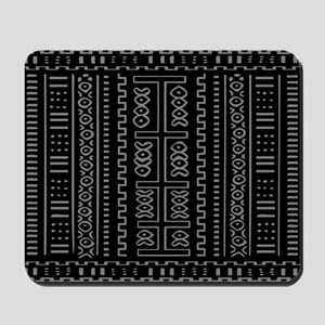 Mud Cloth Pattern In Black And Grray Mousepad