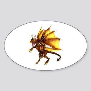 Yellow Dragon Oval Sticker