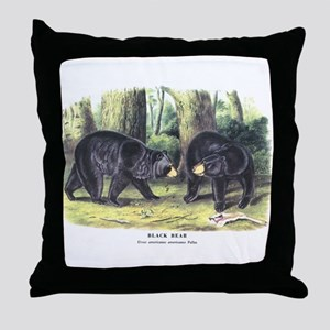 Audubon Black Bear Animal Throw Pillow
