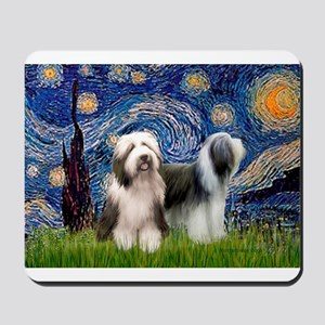 Starry / 2 Bearded Collies Mousepad