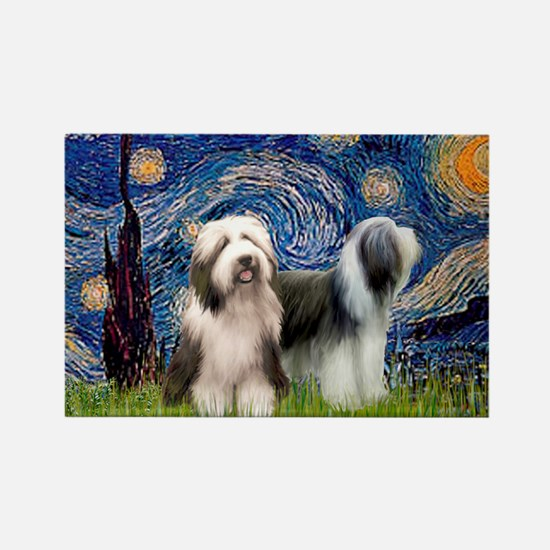 Starry / 2 Bearded Collies Rectangle Magnet