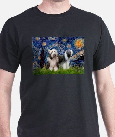 Starry / 2 Bearded Collies T-Shirt