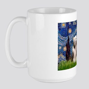 Starry / 2 Bearded Collies Large Mug