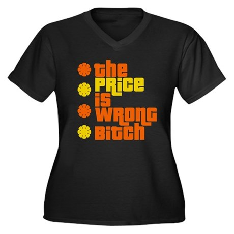 Price is Wrong Women's Plus Size V-Neck Dark T-Shi
