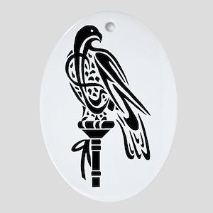 Falcon on Block Oval Ornament