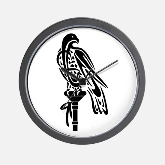 Falcon on Block Wall Clock