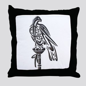 Falcon on Block-blk chrome Throw Pillow