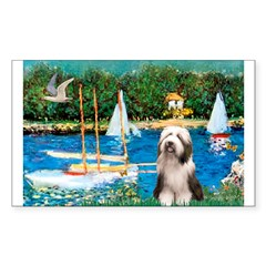 Sailboats / Beardie #1 Sticker (Rectangle 10 pk)