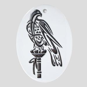 Falcon on block-blk chrome Ornament