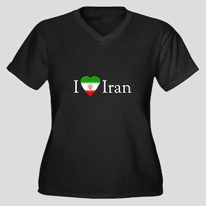 I Love Iran Women's Plus Size V-Neck Dark T-Shirt