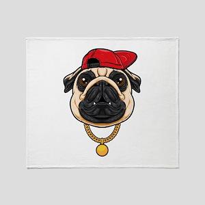 Pug Hip Hop Style Throw Blanket