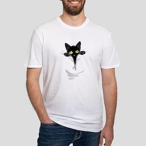 Pocket Kitten Fitted T-Shirt