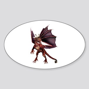 Brown Dragon Oval Sticker