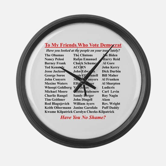 """""""Dems Hall of Shame"""" Large Wall Clock"""