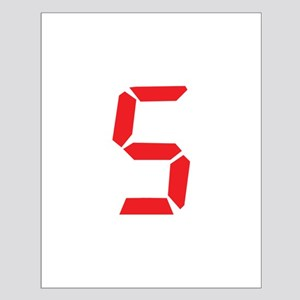 5 five red alarm clock number Small Poster
