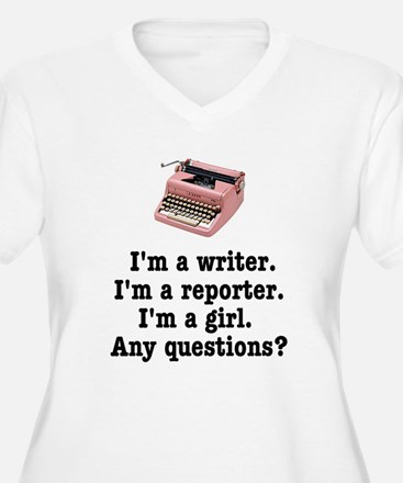 Pink Typewriter Plus Size V-Neck T-Shirt