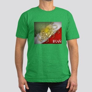Iran Golden Lion & Sun Men's Fitted T-Shirt (dark)
