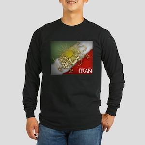Iran Golden Lion & Sun Long Sleeve Dark T-Shirt
